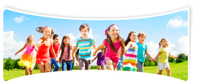 A group of happy children running in the filed